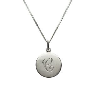 Initial Necklace C in Sterling Silver
