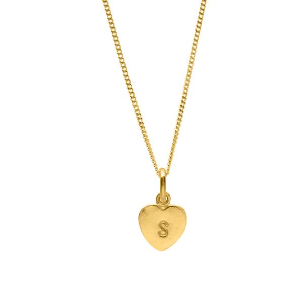 Stamped Letter Love Heart Necklace