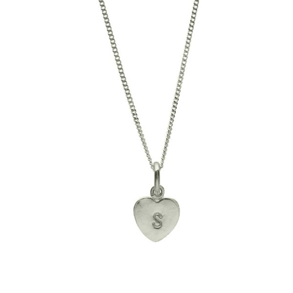 Stamped Heart Necklace in Sterling Silver