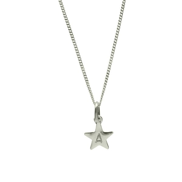 Stamped Star Necklace in Sterling Silver