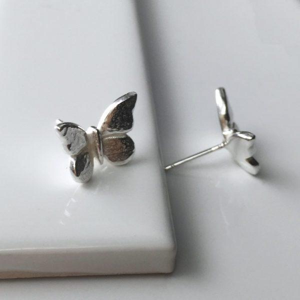 Butterfly Stud Earrings in Sterling Silver