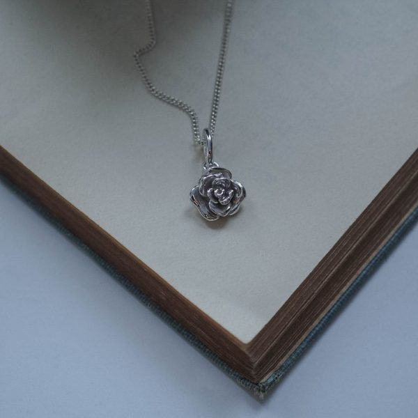 Rose Necklace Sterling Silver by Bianca Jones Jewellery