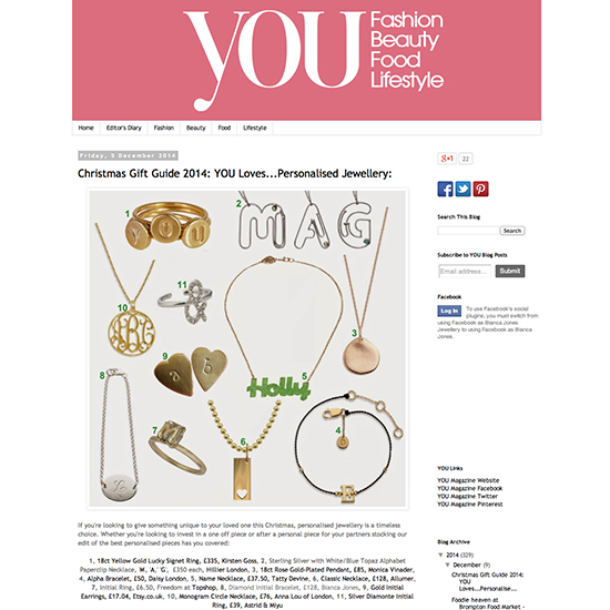 You Magazine personalised diamond bracelet