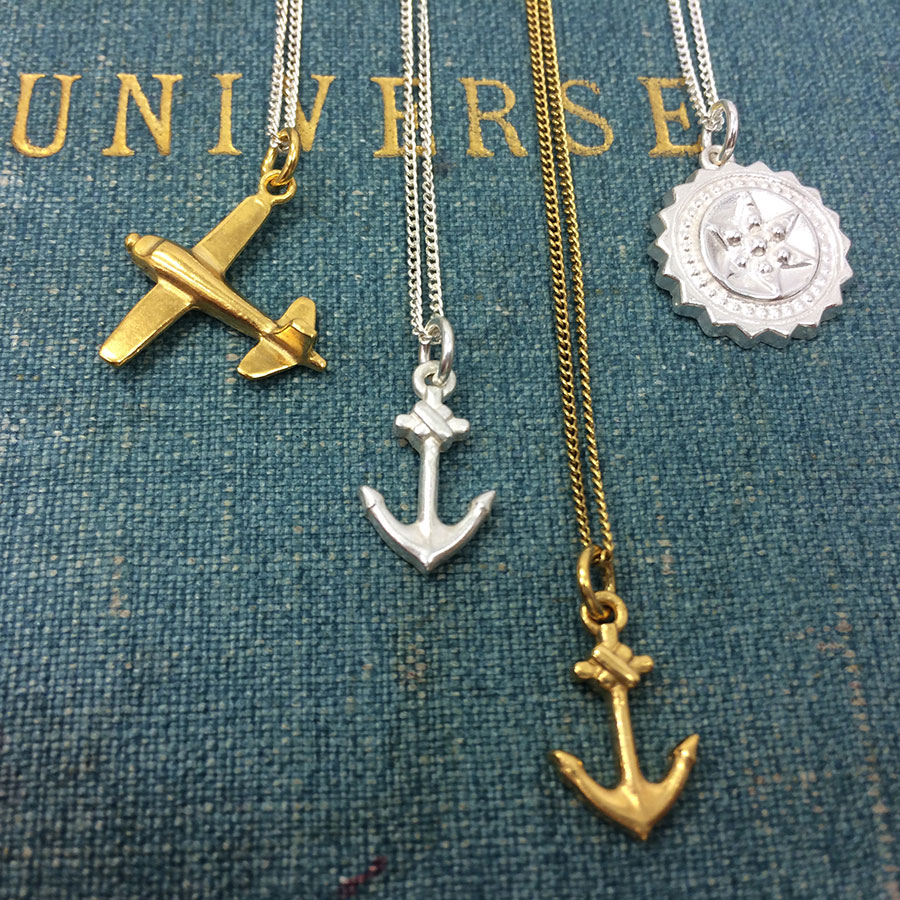 Compass, Airplane and Anchor Necklace in Sterling Silver and Gold Vermeil