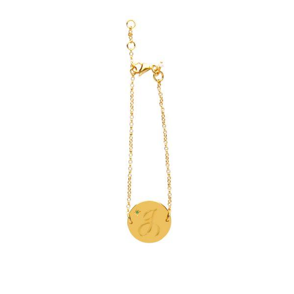Emerald Birthstone Bracelet in Gold Vermeil