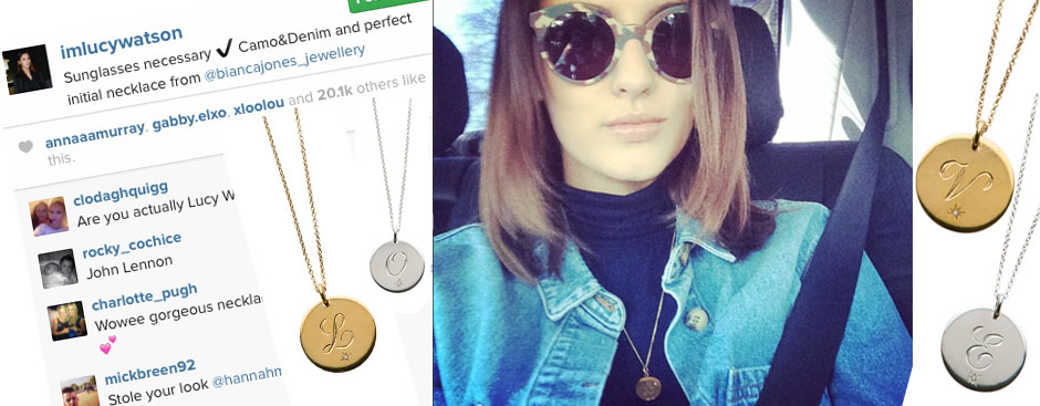 Lucy Watson wears her perfect initial pendant
