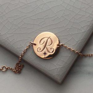 Amethyst Initial Bracelet in Rose Gold Vermeil