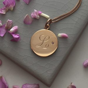 Amethyst Initial Necklace in Rose Gold Vermeil