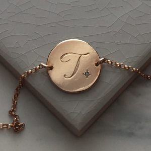 Aquamarine Initial Bracelet in Rose Gold Vermeil