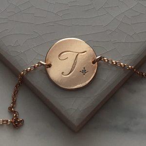 Aquamarine Initial Bracelet in Rose Gold Vermeil