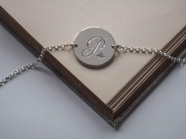 Aquamarine Initial Bracelet