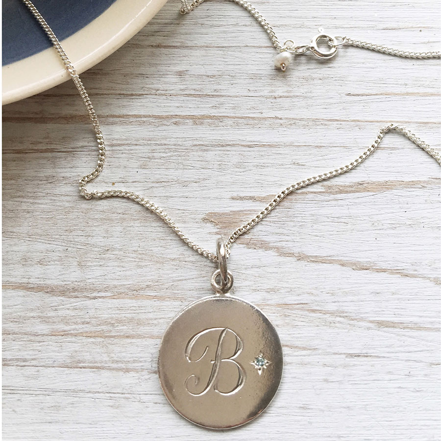 Aquamarine Necklaces: Birthstone March Aquamarine Initial Necklace In Sterling