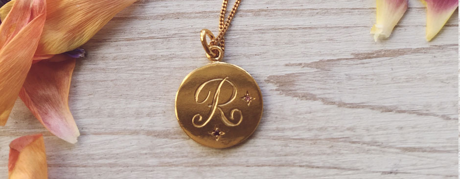 Birthstone Initial Pendant in Gold Vermeil