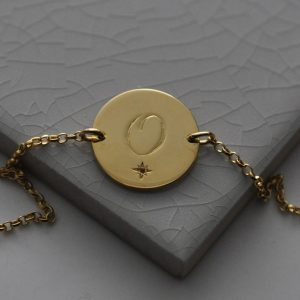 July Birthstone Initial Bracelet in Gold Vermeil