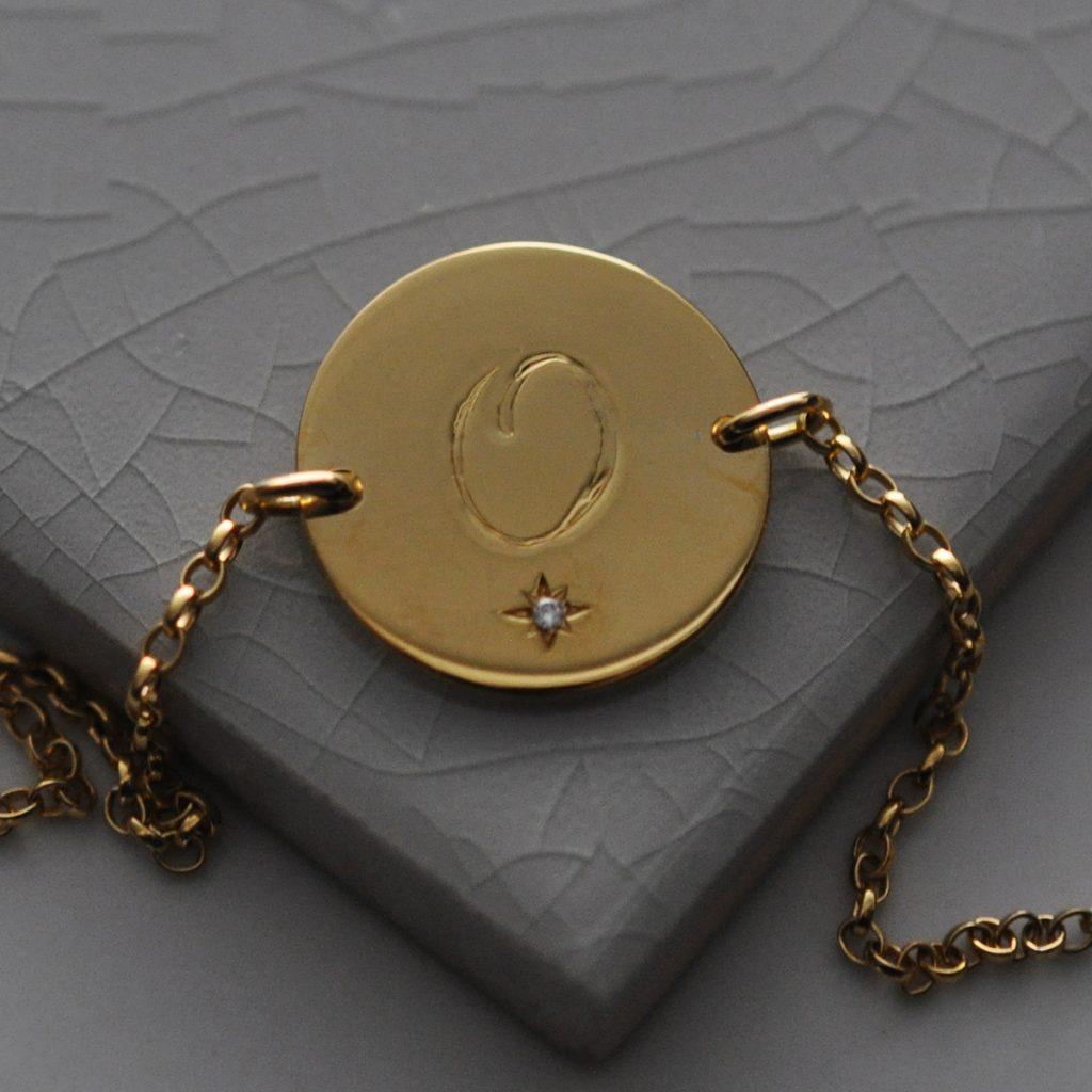 August Peridot Birthstone Initial Bracelet in Yellow Gold Vermeil