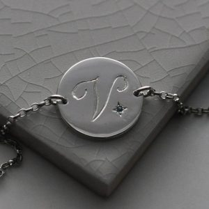 December Birthstone Initial Bracelet in Sterling Silver