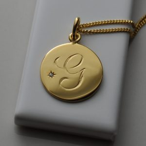 August Birthstone Initial Necklace in Yellow Gold Vermeil