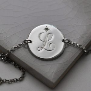 August Birthstone Initial Bracelet in Sterling Silver