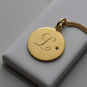 Birthstone Initial Necklace in Yellow Gold Vermeil