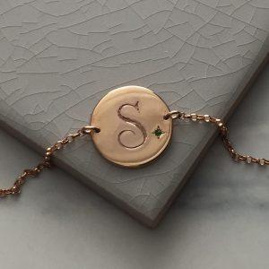 Emerald Initial Bracelet in Rose Gold Vermeil