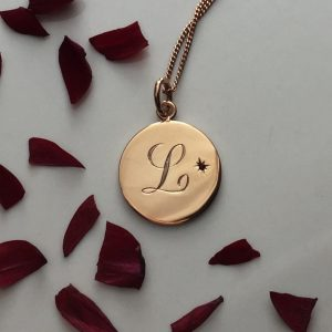 Garnet Initial Necklace in Rose Gold Vermeil
