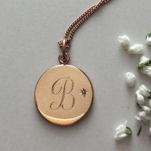 March Birthstone Initial Necklace in Rose Gold