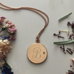 July Birthstone Initial Necklace in Rose Gold