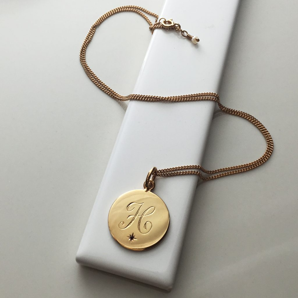 January Birthstone Initial in Rose Gold Vermeil