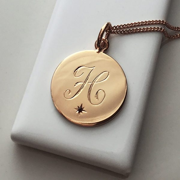 January Birthstone Initial Necklace in Rose Gold