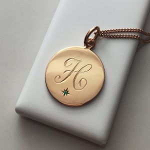 May Birthstone Initial Necklace in Rose Gold