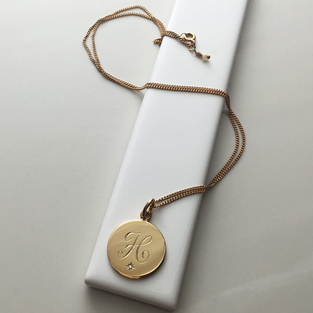 April Birthstone Initial Necklace in Rose Gold Vermeil