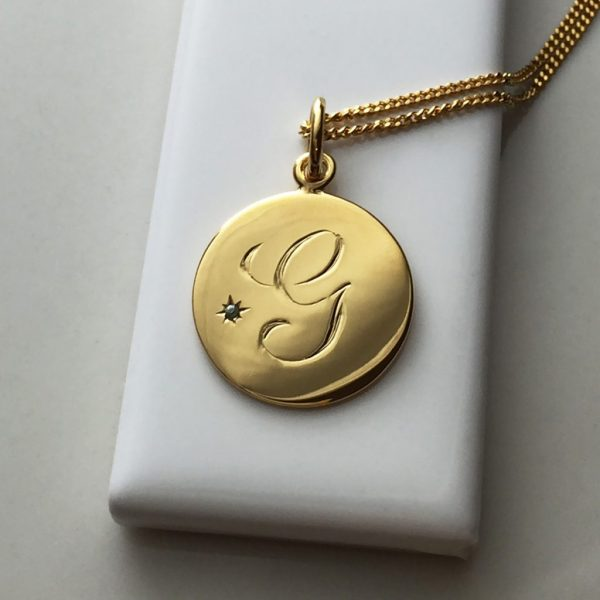 June Birthstone Initial Necklace in Yellow Gold Vermeil