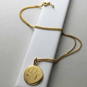 Diamond Initial Necklace in Yellow Gold Vermeil