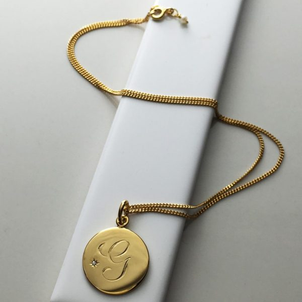 April Birthstone Initial Necklace in Yellow Gold Vermeil