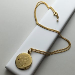 July Birthstone Initial Necklace in Yellow Gold Vermeil