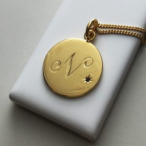 September Birthstone Initial Necklace in Yellow Gold Vermeil