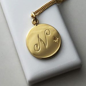 November Birthstone Initial Necklace in Yellow Gold Vermeil