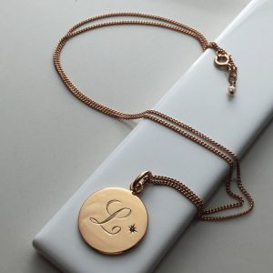 December Birthstone Initial Necklace in Rose Gold