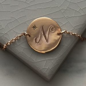 March Birthstone Initial Bracelet in Rose Gold