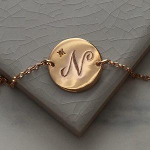 November Birthstone Initial Bracelet in Rose Gold