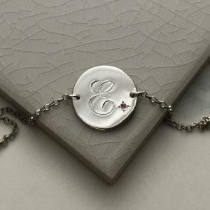 October Birthstone Initial Bracelet in Sterling Silver