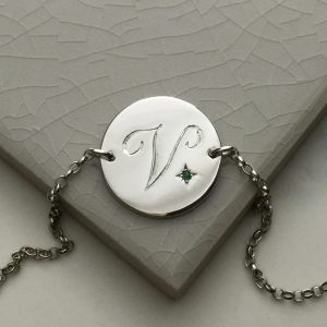 May Birthstone Initial Bracelet in Sterling Silver