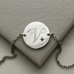 May Birthstone Initial Bracelet in Sterling Silver
