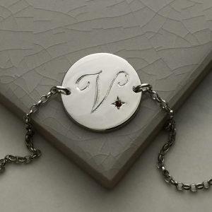 January Birthstone Initial Bracelet in Sterling Silver