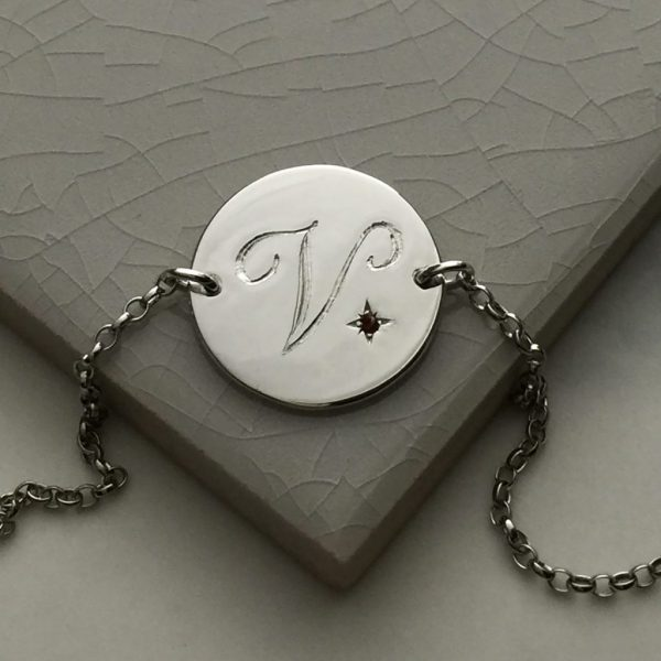 January Birthstone Initial Bracelet in Sterling Silver