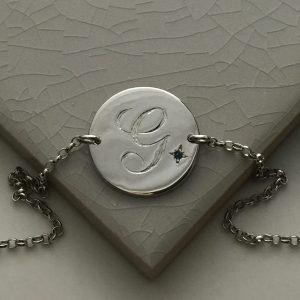 September Birthstone Initial Bracelet in Sterling Silver