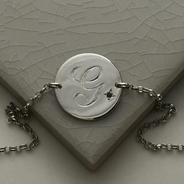 September Birthstone Initial Bracelet in Sterling Silver