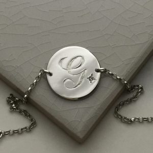 April Birthstone Initial Bracelet in Sterling Silver