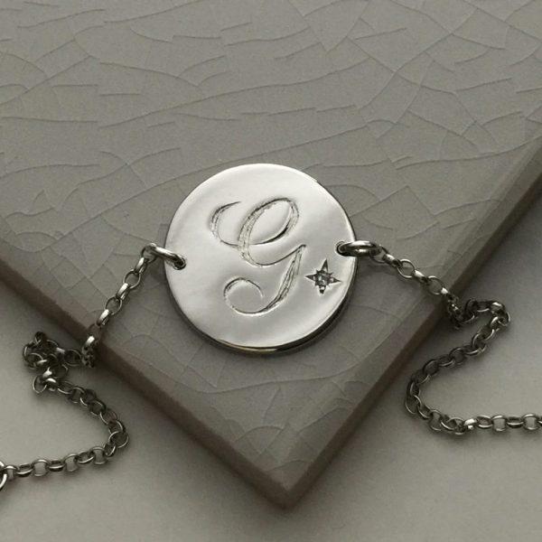 April Birthstone Initial Bracelet in Sterling Silver