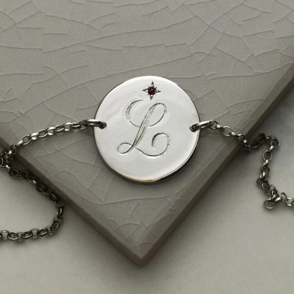 July Birthstone Initial Bracelet in Sterling Silver